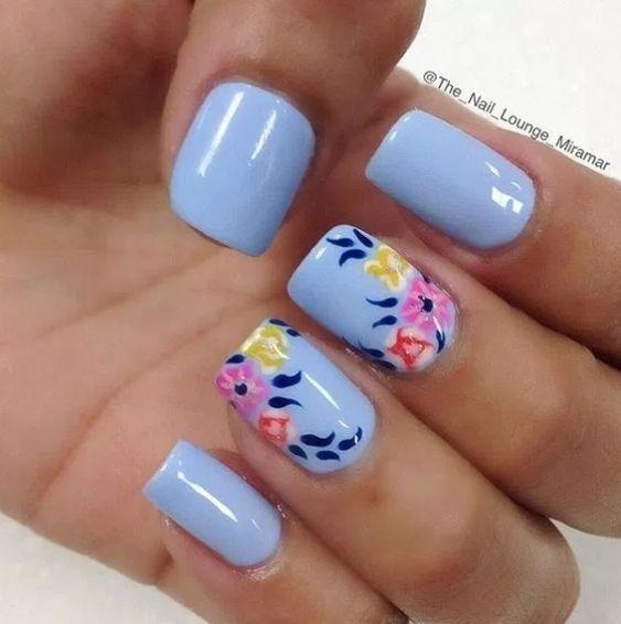 100 Beautiful blue Nail Art Designs 2018