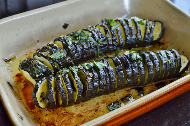Hasselback Courgettes or Zucchini with Basil Oil