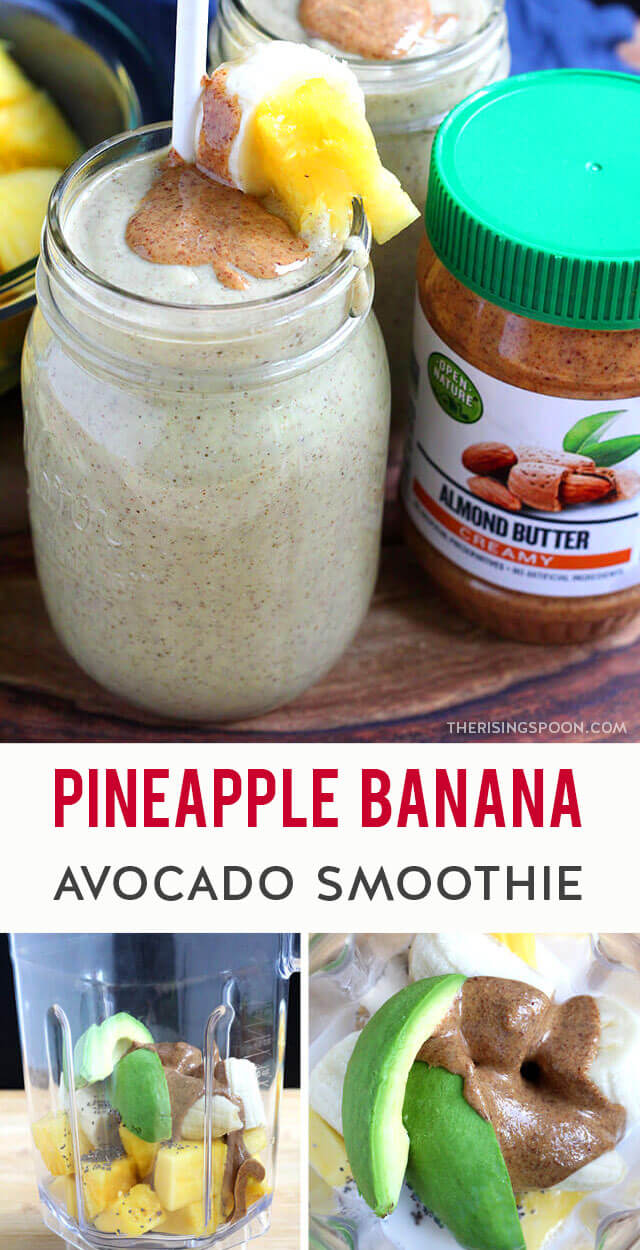 A bright & refreshing smoothie featuring simple ingredients like fresh pineapple, banana, avocado & almond butter. This yummy drink has a balanced combo of naturally sweet tropical fruit, protein & healthy fats so you'll feel satisfied & nourished after drinking a glass. It's perfect for a quick & easy breakfast, lunch, or snack! (gluten-free, grain-free & dairy-free)