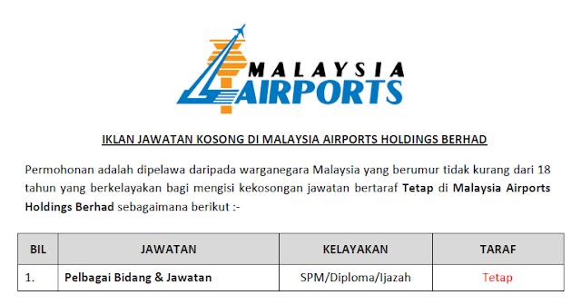jawatan kosong malaysia airports