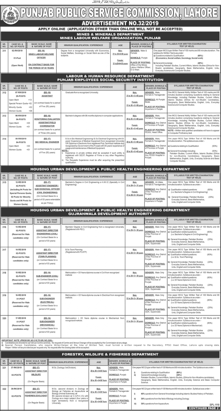 PPSC Advertisement No 32/2019 | Online Apply - 110 Seats