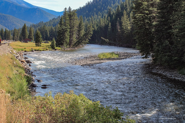 Gallatin River canyon Montana geology river rafting rocks Yellowstone National Park copyright RocDocTravel.com
