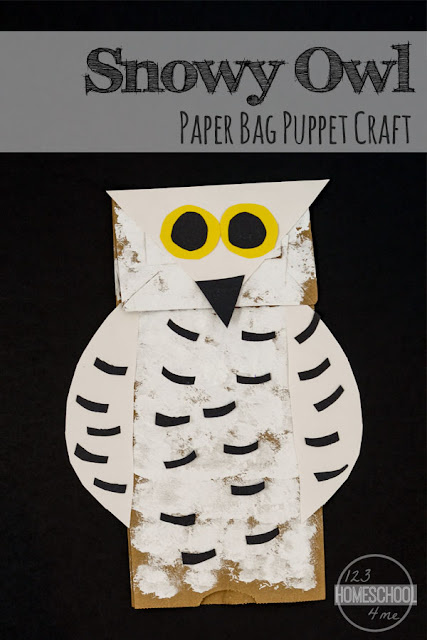 Super cute Owl Paper Bag Puppet Craft perfect for toddler, preschool, kindergarten, first grade winter craft.