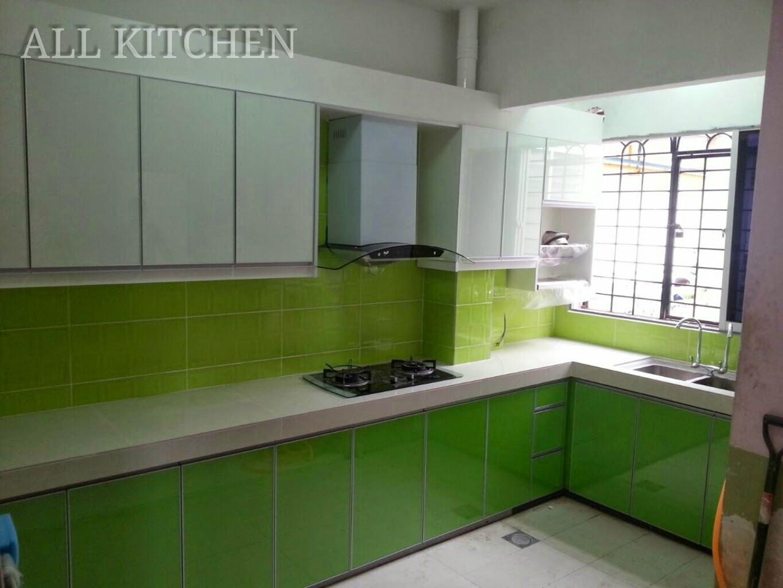 Kabinet Dapur Hijau Putih Desainrumahid