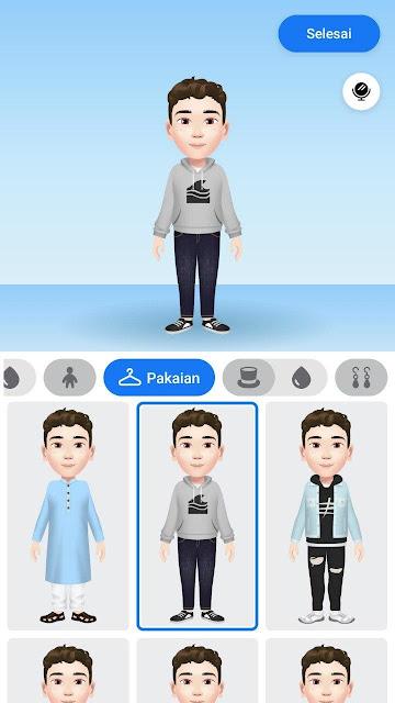Pilih pakaian Avatar