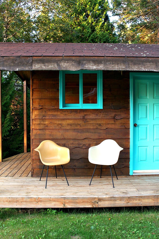 Turquoise Window Trim and Front Door