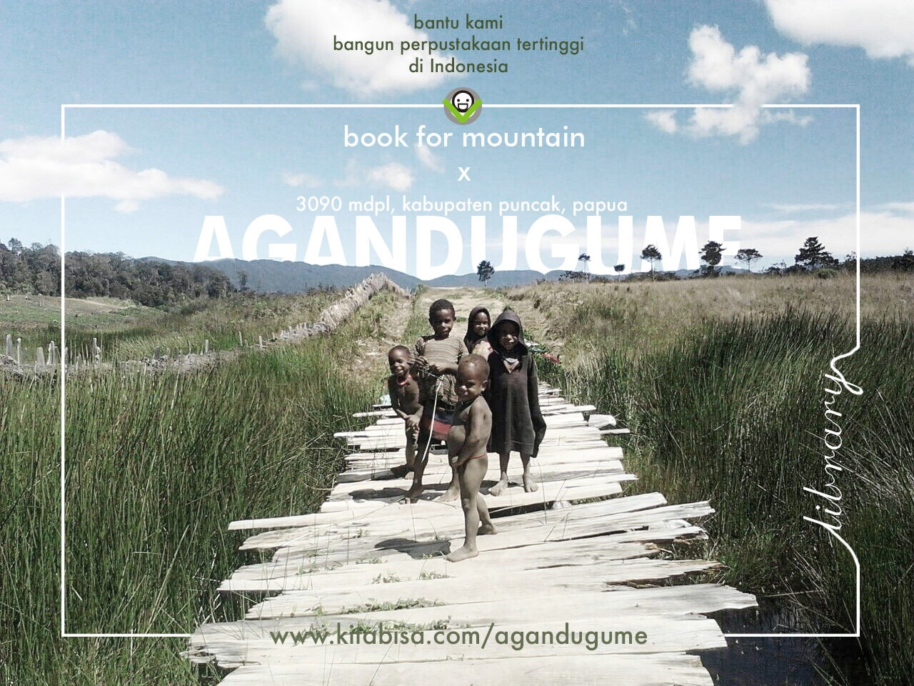 project perpustakaan komunitas book for mountain agandugume kabupaten puncak papua