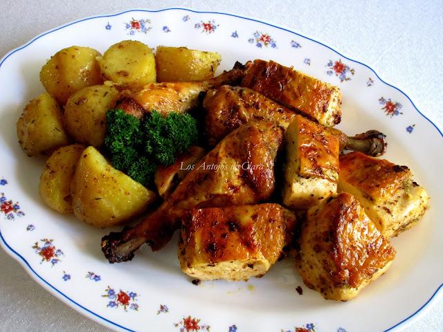 Pollo asado con hierbas provenzales y limón