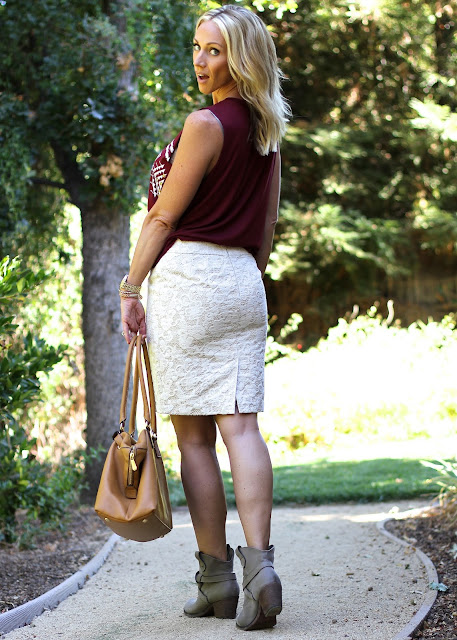 lace skirt with burgundy tank
