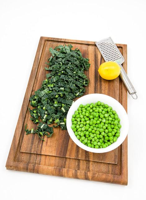 Kale, peas and lemon