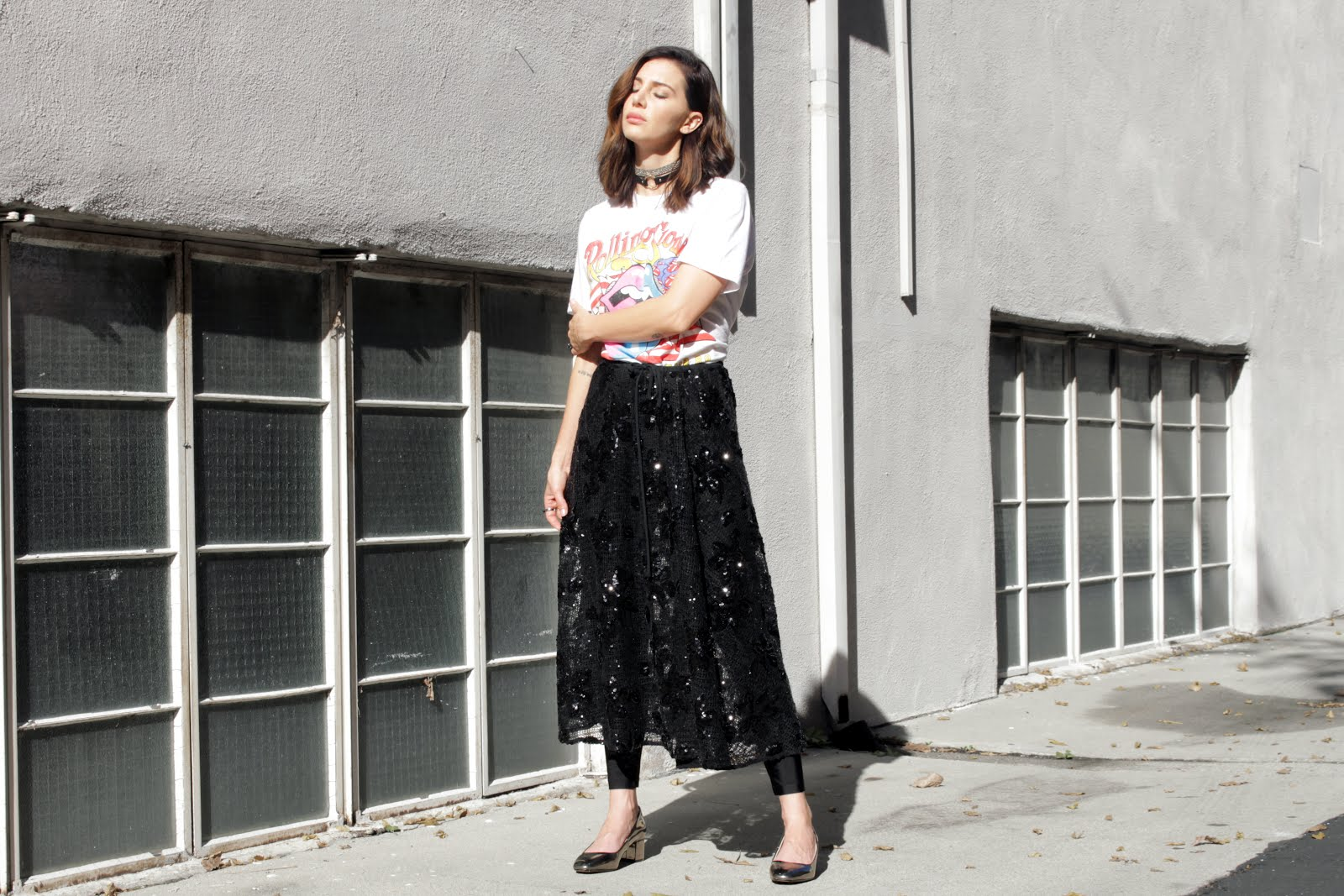 skirt over pants band tee street style