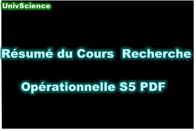 Résumé Du Cours Recherche Opérationnelle S5 PDF.