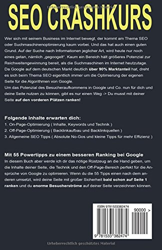 Buch SEO Crashkurs: 55 Powertipps für gute Suchmaschinenoptimierung und mehr Besucher über Google und Co.
