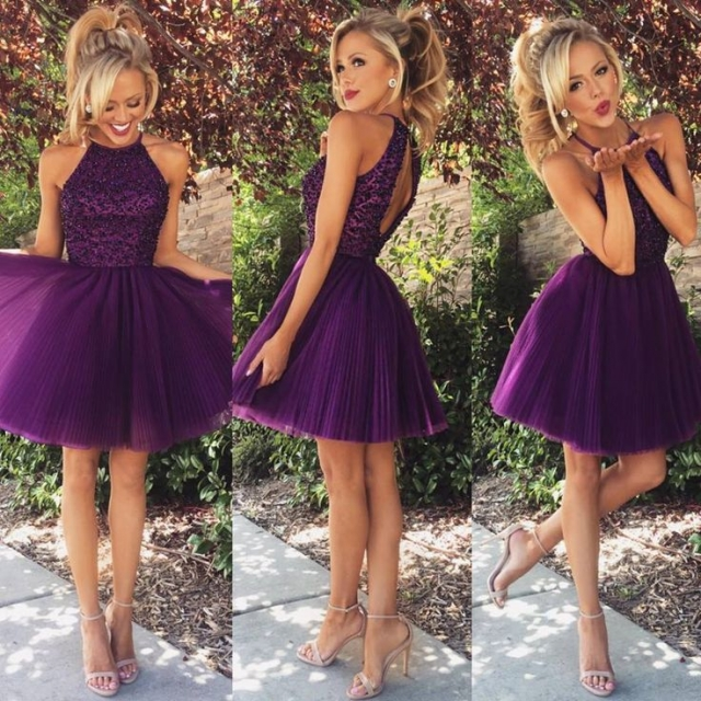 A Glimpse of Glam - Babyonlinedress Purple Halter Bodice Dress