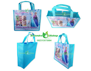 tas souvenir ultah frozen, tas ultah frozen murah, tas ultah anak murah, souvenir frozen, goody bag frozen