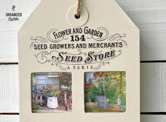 Photo of flower garden pics in tag shaped frame