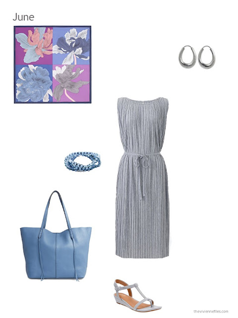 a grey dress with light blue accessories for summer