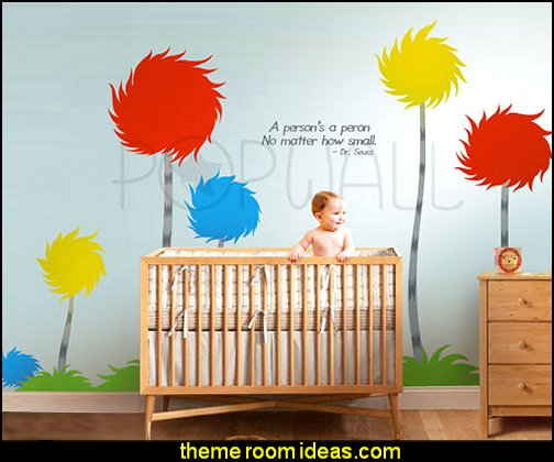 Dr seuss Truffula trees wall decals  Dr Seuss bedroom ideas - Dr.Suess bedroom decor - Dr Seuss Bedding - dr. seuss nursery  - decorating ideas  cat in the hat theme bedrooms -  Dr Seuss wall decal stickers - DR SEUSS wall mural decal - Dr. Suess playroom ideas - Dr. Seuss Plush Toys