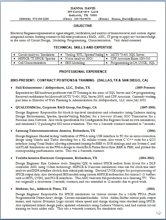 resume samples for electrical engineers