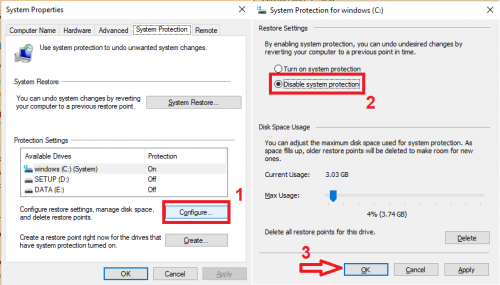 Disable system protection