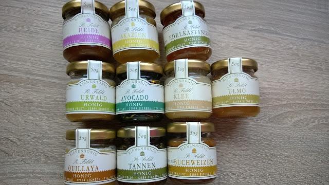 10 Verschiedene Sorten Honig.