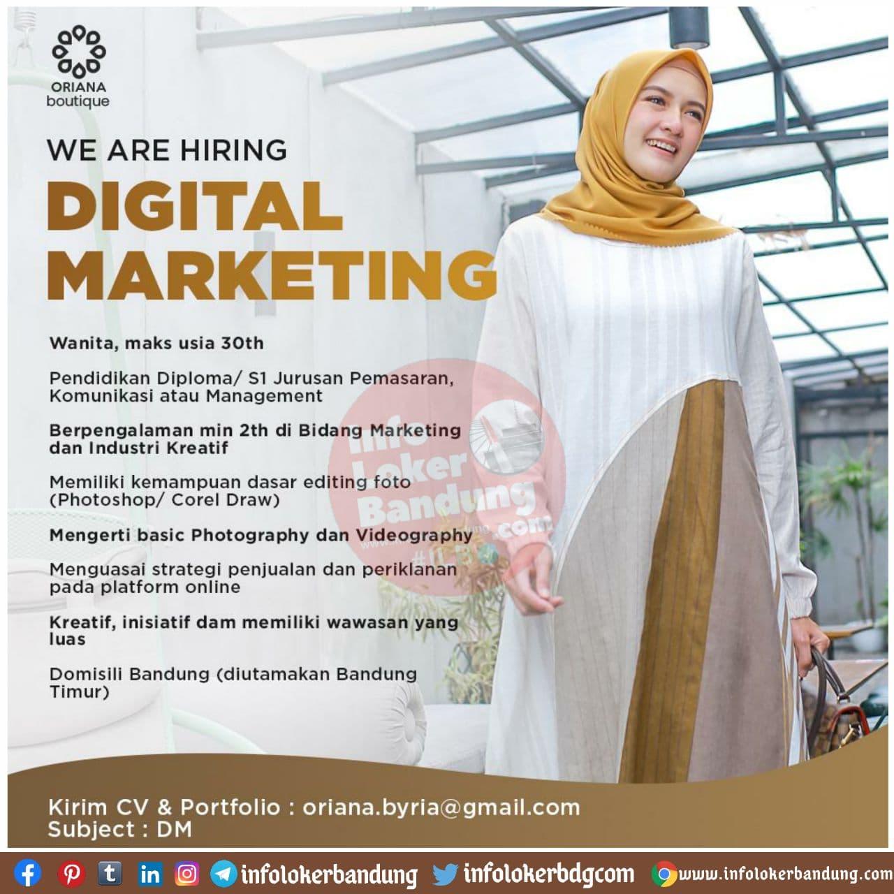 Lowongan Kerja Digital Marketing Oriana Boutique Bandung November 2020