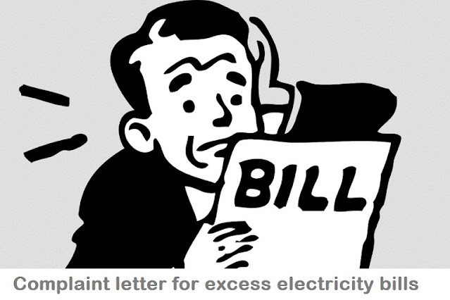 Overcharged Electricity bill or Defective meter Complaint Letter Examples