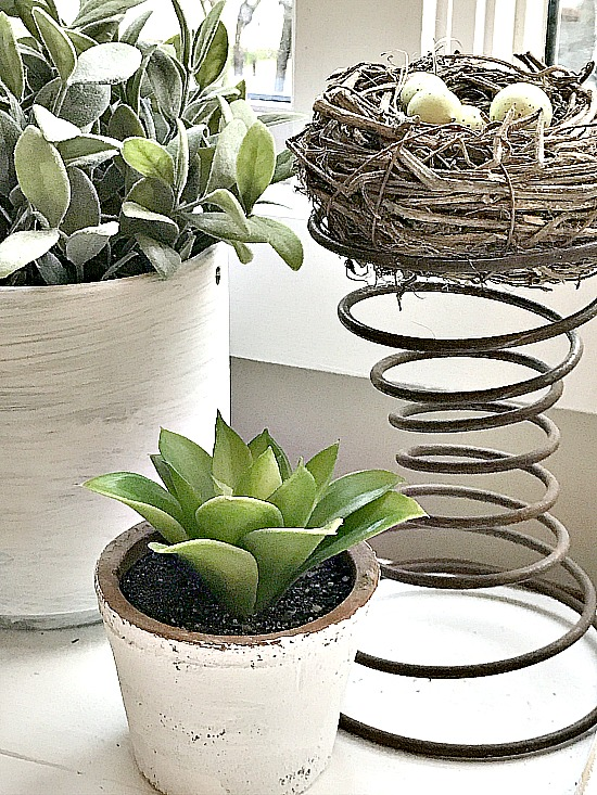 windowsill planters with faux plants
