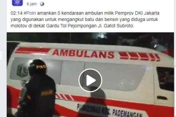 Dipertanyakan, Di Sebelah Mana Batu-Bensin di Ambulans Pemprov DKI yang Diamankan Polisi?