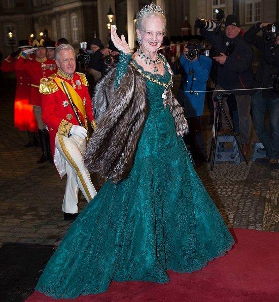 Crown Princess Mary wore a fuchsia silk dress, Princess Marie wore Rikke Gudnitz dress and tiara. Princess Elisabeth by Order of the Elephant