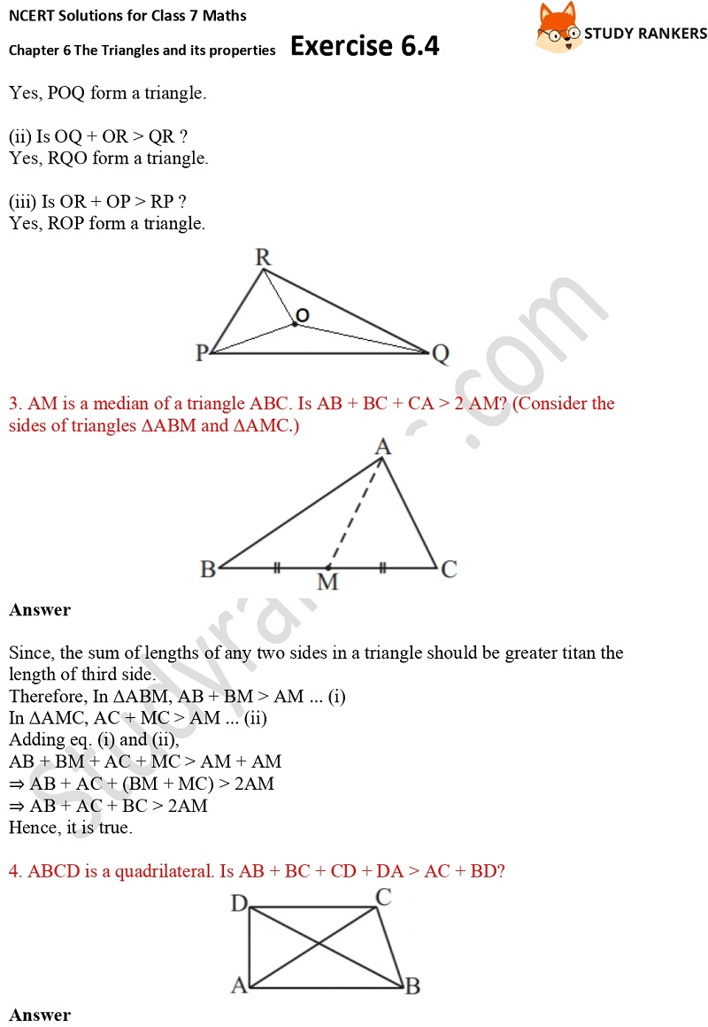 NCERT Solutions for Class 7 Maths Ch 6 The Triangles and its properties Exercise 6.4 2