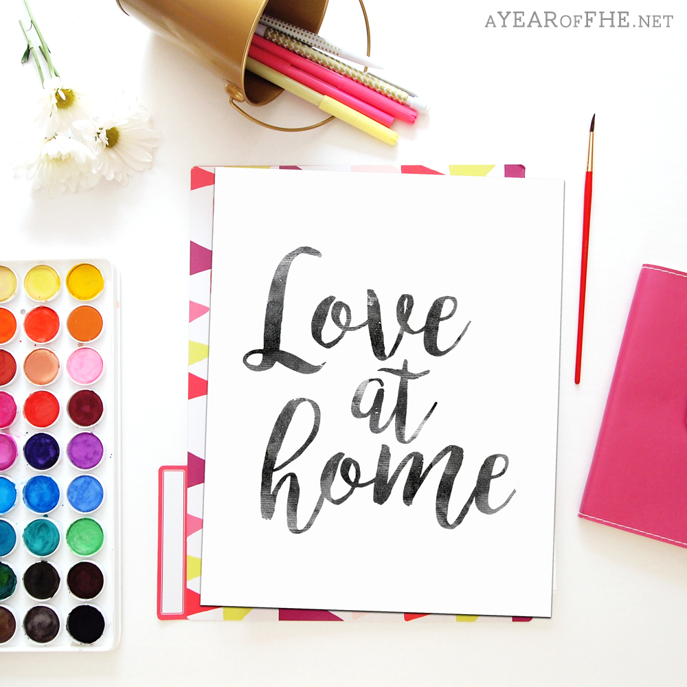 "A Year of FHE // This 8x10"" LOVE AT HOME is the freebie inside the June 2016 Newsletter so you have to sign up during May!  #lds #printforhome #loveathome"