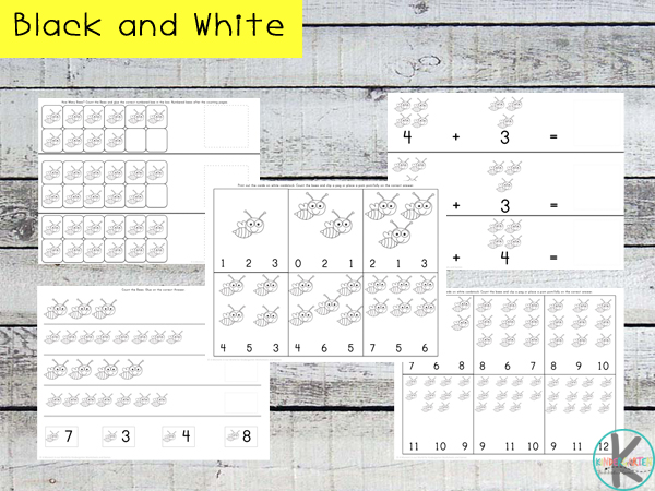 counting on math worksheets in black and white
