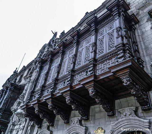 Balcões entalhados do Palácio do Arcebispado, Centro Histórico de Lima