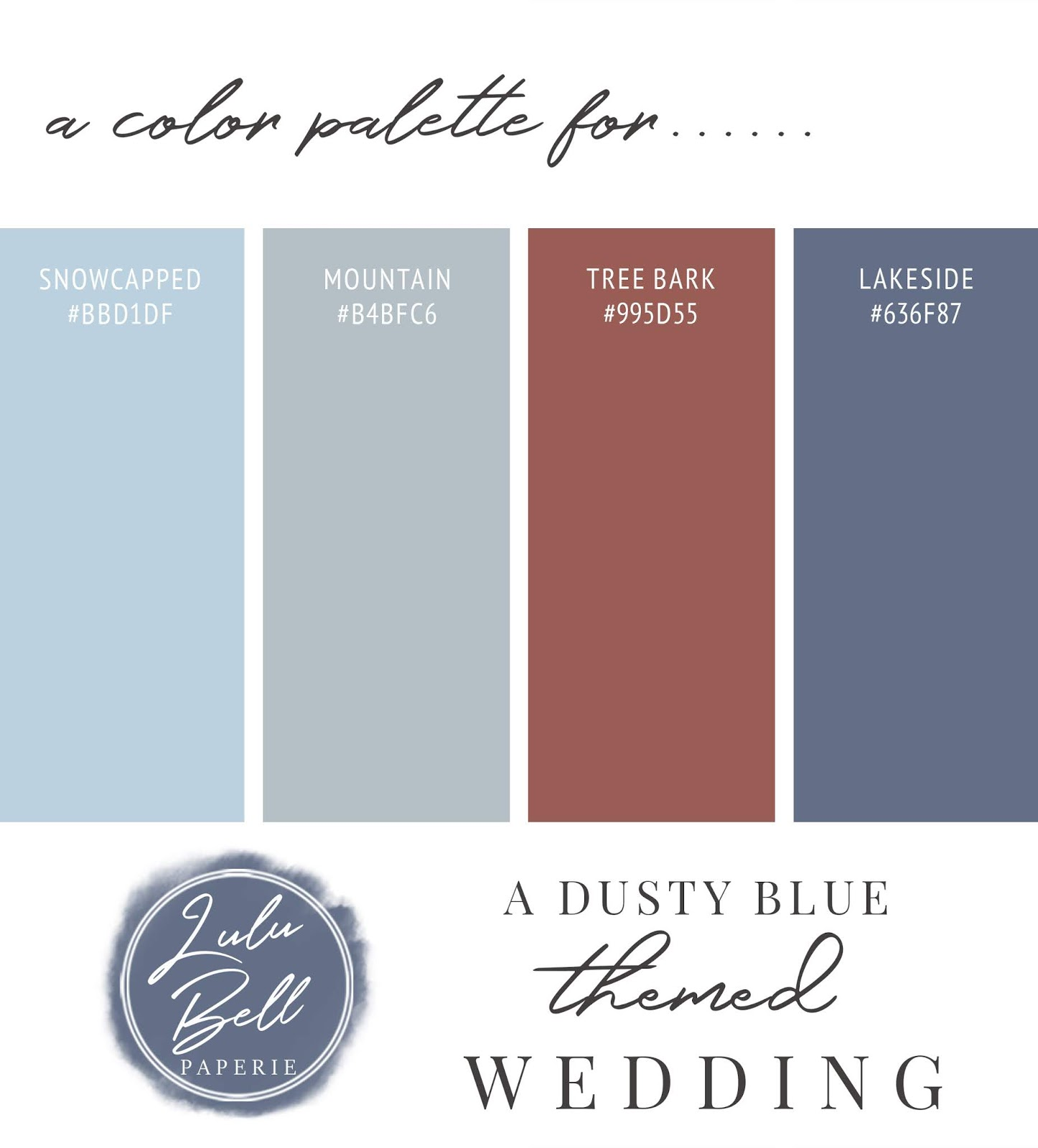 Dusty Blue, Cinnamon, Navy, and Gray Wedding Color Palette Swatch Card : Lakeside, Tree Bark, Mountain, and Snowcapped
