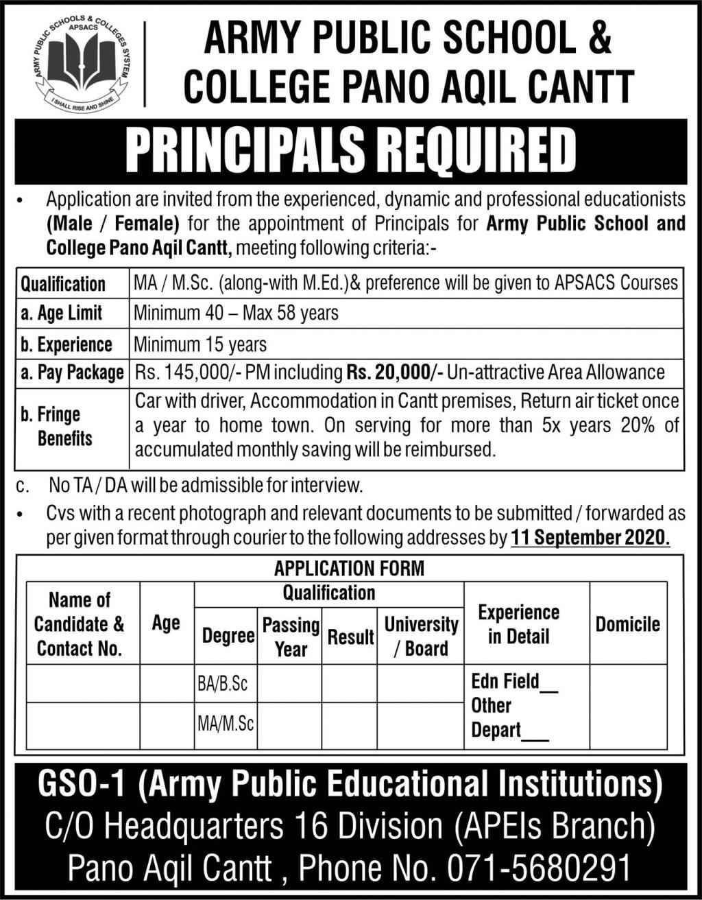 Army Public School & College APS&C Pano Aqil Jobs 2020 Latest