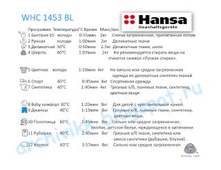 Быстрый выбор программ стирки Hansa WHC 1453 BL