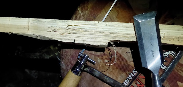 saw to help wood removal on bow