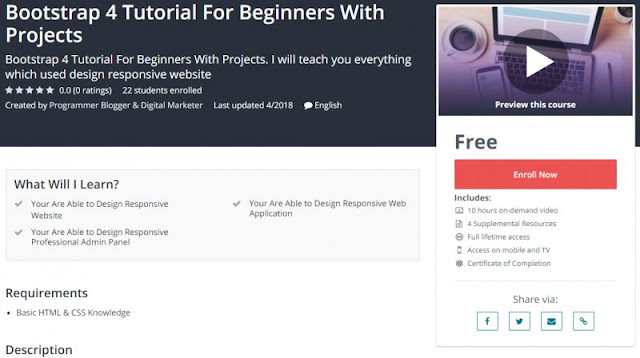 [100% Free] Bootstrap 4 Tutorial For Beginners With Projects (10 Hours)