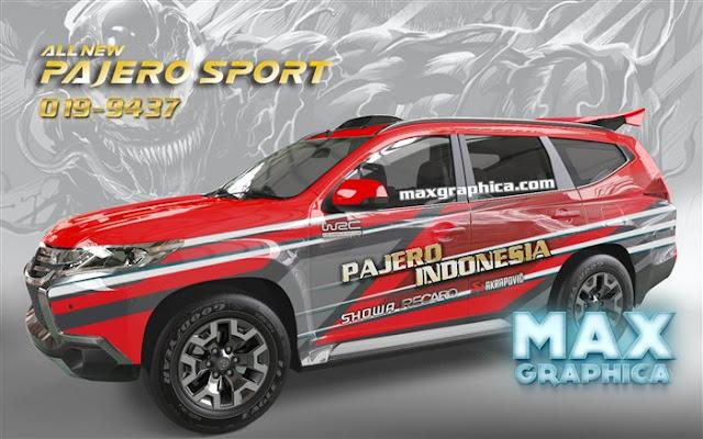 skotlet mobil pajero merah grafis rally sidoarjo surabaya