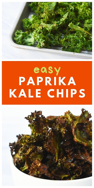 Easy Paprika Kale Chips - Step-by-step photo guide on how to make kale crisps with printable recipe #kalechips #kalecrisps #paprikakalechips #paprikakalecrisps #kale #curlykale #homemadechips #homemadecrisps