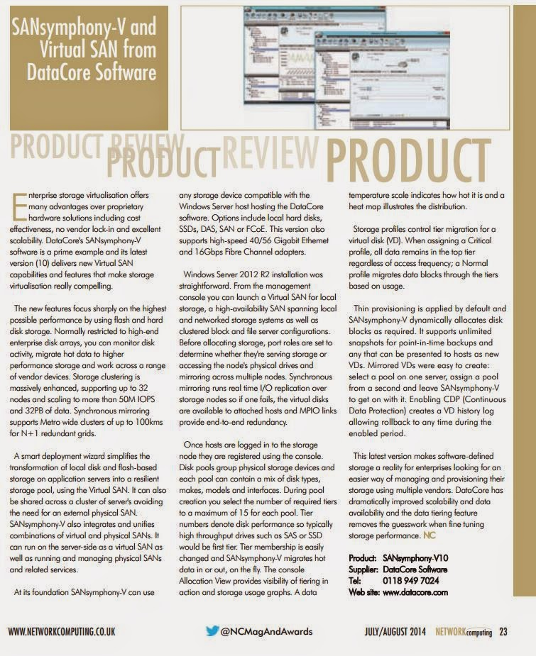 Network Computing Technology Review: DataCore Virtual SAN and SANsymphony V Software defined Storage Solutions