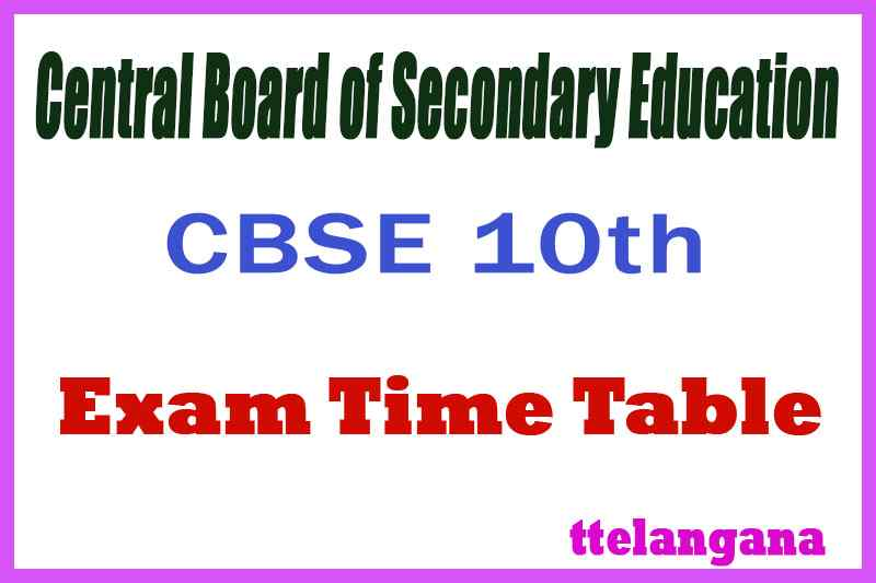 CBSE Board 10th Time Table