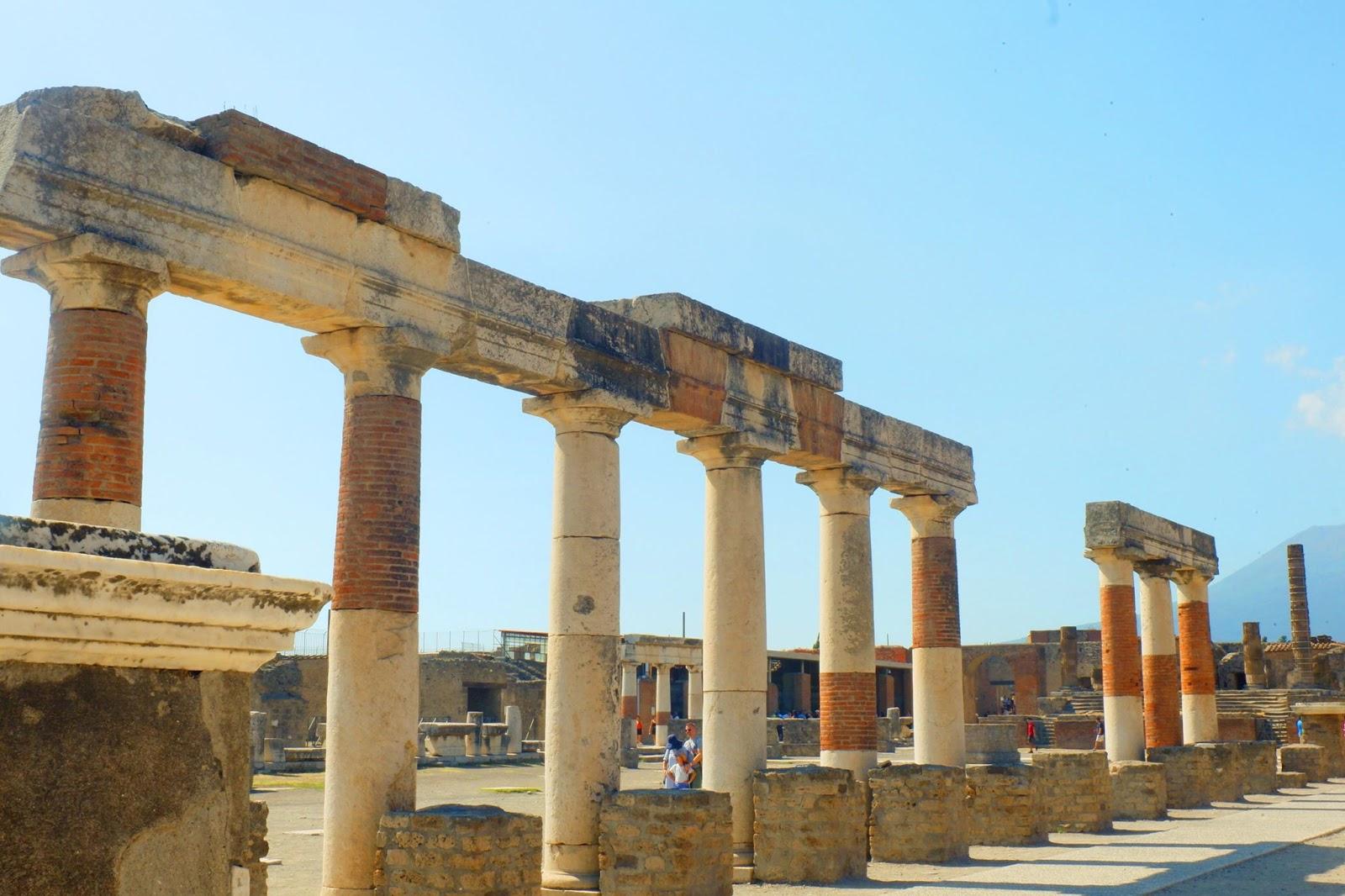 Forum area of Pompeii with columns