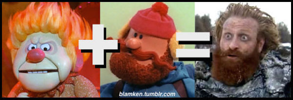 Heat Miser from Rudolph (pic) + Yukon Cornelius from Rudolph (pic) = Tormund Giantsbane from Game of Thrones