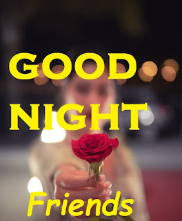 good night friend image with rose
