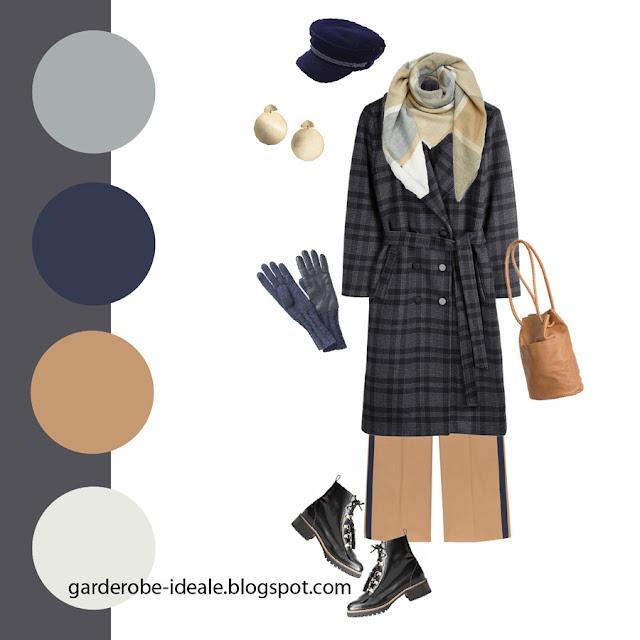 Сочетание серого пальто в клетку с шарфом цвета кэмел и синими аксессуарами