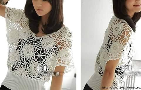 Patrón 926 Blusa Flores a Crochet