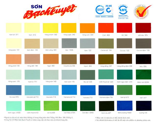 bảng màu sơn dầu Bạch Tuyết