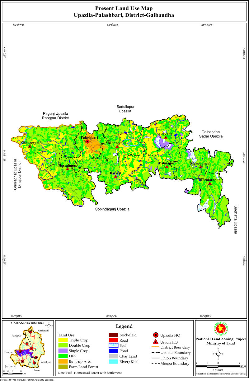 Palashbari Upazila Mouza Map Gaibandha District Bangladesh